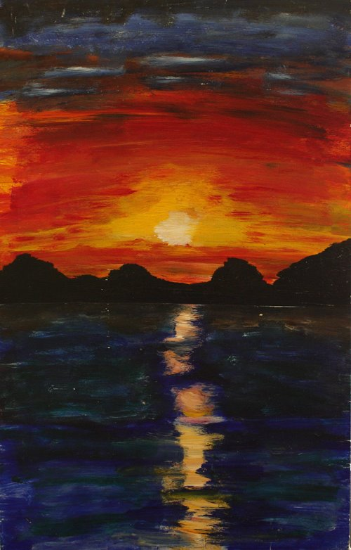 """painting """"Sunset Kid"""" which was created on a gift box with Oil Pastel on"""